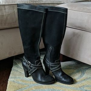 Leather/Suede Tall Boot With Buckle/ White Stitch